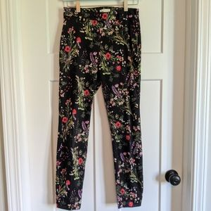 H & M Black Floral Stretchy Dress Pants Size 4